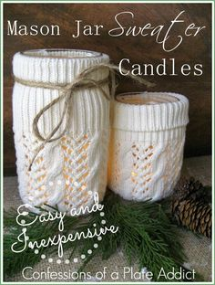 Cozy Mason Jar Sweater Candles - Famous Last Words Mason Jar Projects, Mason Jar Crafts, Mason Jar Diy, Diy Projects, Mason Jar Candles, Mason Jar Lighting, Scented Candles, Bottle Candles, Upcycled Crafts