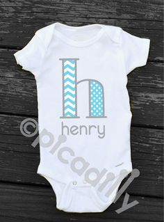 Baby BOY or Toddler Boy CHEVRON MONOGRAM Initial by ShopPicadilly