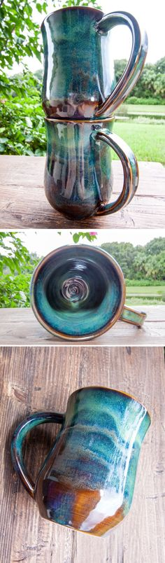 The Forest Green collection This handmade stoneware mug is perfect for everyday use. The beautiful variations of brown and green colors in the glaze are inspired by the forest..