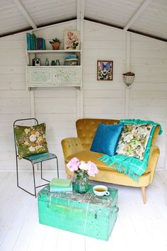 Summerhouse / She-shed Makeover With AXA - an eclectic, boho mix of vintage and modern come together to create this sweet reading nook