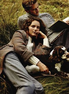 Muted greys and tweeds in the comfy mossy grass.