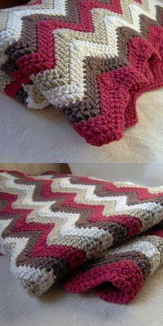 Afghan Ripple Blanket Free Crochet Pattern