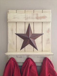Primitive country star sign /shelf with hooks ...Etsy