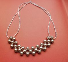 Champagne Beaded Pearl Necklace ( Also in Peach )    To Order Visit : www.etsy.com/shop/jewelsspeaklouder