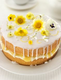 Lemon and elderflower drizzle cake http://www.sainsburysmagazine.co.uk/recipes/baking/classics/item/lemon-and-elderflower-drizzle-cake