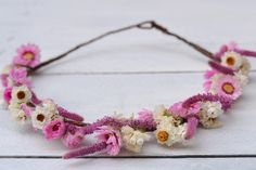 Pink and White Floral Headband Boho Rustic Flower Crown Floral Hair Accessory Bridal Headpiece Festival Flowergirl Bridesmaid Halo by CGWeddingFlowers on Etsy https://www.etsy.com/listing/244490378/pink-and-white-floral-headband-boho