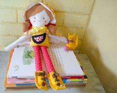 Handmade eco doll with pet cat and by SeedsOfLoveHandmade on Etsy