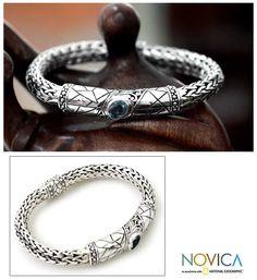 NOVICA AFRICAN JEWELRY | Mens blue topaz braided bracelet - Meditate - NOVICA