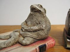 Vintage Bookends of 2 Toads on a Book