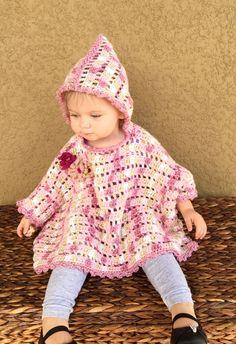 Little Girls Pink Camo Poncho Baby Poncho by PeekabowsMESCrochet
