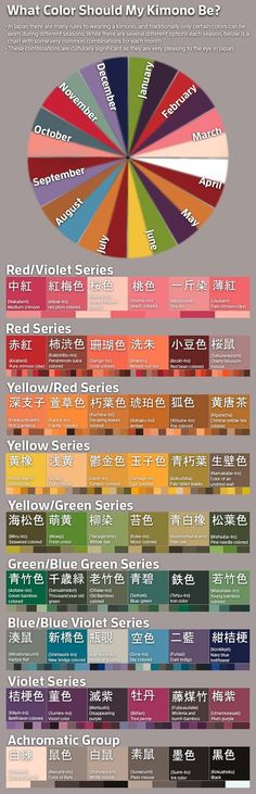 """kyotokimono: """" Fascinating guide to Japanese colors! Wonderful graphics and organization. Here at Kyoto Kimono we sell a variety of Japanese garments (kimono, haori, fabric, obi and more) in a range of colors. Visit www.kyotokimono.com to browse our..."""