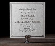 A stylish frame, stunning script, and refined scrolls all come together perfectly in this fresh letterpress throwback from Ellie Snow.