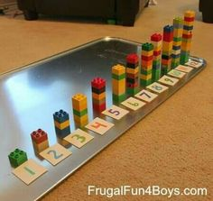 Two Preschool Math Activities with Duplo Legos - Frugal Fun For . Two preschool math activities using Duplo Legos. These are great for younger brother while the older ones do their schoolwork! How to Teach Your Child to Read - Two independent activities f Counting Activities, Preschool Learning Activities, Montessori Activities, Preschool Activities, Kids Learning, Work Activities, Preschool Lessons, Educational Activities, Legos