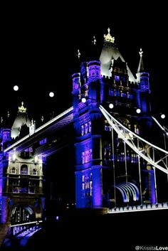 Tower Bridge by night in London by Krissta Love #architecture #bridge #London #cool #blue #photography