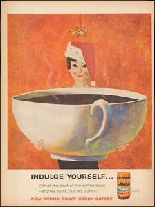 Vintage-ad-for-Sanka-Coffee-Art-Large-Cup-Mistletoe-Christmas-Hat-040217
