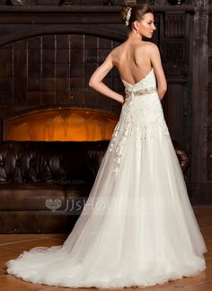 A-Line/Princess Sweetheart Sweep Train Tulle Lace Wedding Dress With Beading Sequins (002067218) - JJsHouse