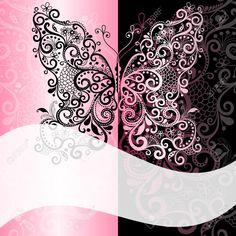 Pink-đen Khung Với Bướm Vintage Và Trắng Dải Sóng Mờ Cliparts, Vector, Và Stock…