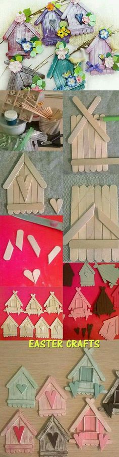 Birdhouse craft from popsicle sticks