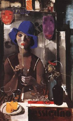 Woman with Blue Hat  by Vilmos Aba-Novák