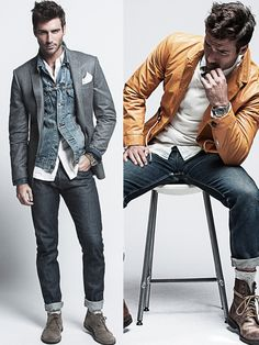 The outfit on the right. Roll down the jeans and change the boots for some casual/business sneakers.