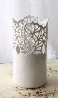 Lace porcelain vase...i could do this... beautiful design! =) I'm sure that grandkids would break it though