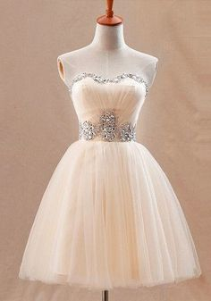 Lovely Champagne Homecoming Dress,Flare Ball Gown Prom Dress, Mini Tulle Homecoming Dress,Crystals Beaded Lady Dress
