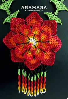 Your place to buy and sell all things handmade Beaded Flowers, Red Flowers, Mexican Designs, Mexican Jewelry, Native American Beadwork, Handmade Beaded Jewelry, Flower Necklace, Bead Art, Crochet Earrings