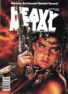 Heavy Metal Magazine - September 1990 (cover by Luis Royo) Arte Heavy Metal, Chica Heavy Metal, Heavy Metal Comic, Heavy Metal Girl, Heavy Metal Rock, Metal Art, Metal Magazine, Magazine Art, Magazine Covers