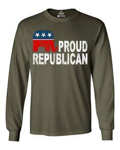 Shop4Ever® Proud Republican Long Sleeve Shirt Political Shirts