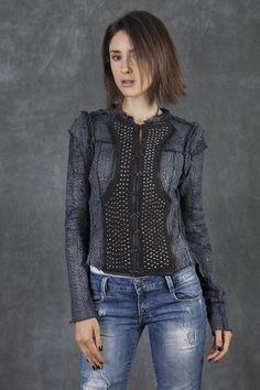 Grey Tie Dye Metal Foiled Miltary Jacket