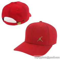 Men s   Women s Unisex Air Jordan The Small Jumpman Gold Metal Logo Strap  Back Adjustable Baseball Hat - Red a5aae45c4