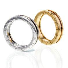 New Bulgari B.ZERO1 18k White - Yellow Gold Band Ring AN852423 AN852260 w  a6292fd46b8