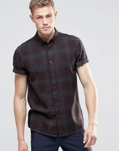 Image 1 ofASOS Check Shirt with Pigment Dye In Grey In Regular Fit