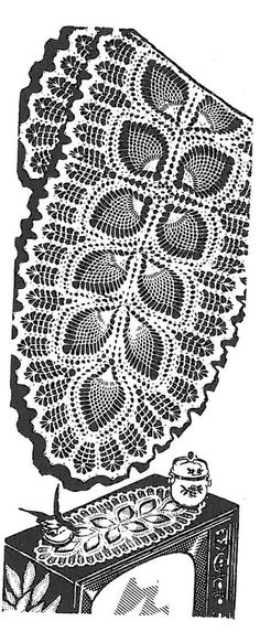 Vintage Crochet PATTERN 7293 Oval doily scarf leaf by BlondiesSpot, $3.99