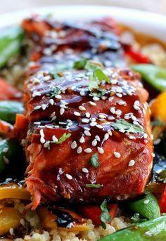 Sesame Ginger Sweet Teriyaki Salmon with Garlic Quinoa Stir-fry