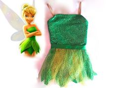 Tinkerbell-inspired Fairy Costume 3T/4T Green sparkle with Leaf Skirt and Fairy Wings by CoolBeanCostumes on Etsy