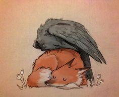 ♥ y Chiara Bautista imagen en We Heart It Animal Drawings, Art Drawings, Animal Illustrations, Crows Drawing, Fox Drawing, Chiara Bautista, Fuchs Illustration, Fuchs Tattoo, Fox Art