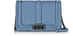 REBECCA MINKOFF Azure Chevron Quilted Leather Small Love Crossbody Bag. #rebeccaminkoff #bags #shoulder bags #leather #crossbody #