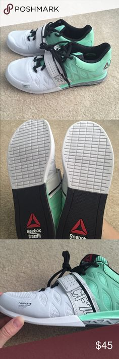 Reebok Crossfit Lifting Shoes NWOT Never worn Reebok Oly Lifting shoes. Size 9 women's. Mint green, white and grey. Reebok Shoes Athletic Shoes