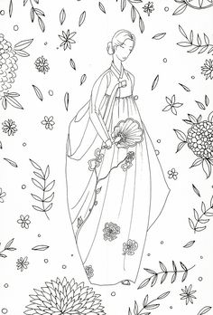 adult coloring page : Korean traditional clothing Vintage Embroidery, Ribbon Embroidery, Cross Stitch Embroidery, Embroidery Patterns, Freehand Machine Embroidery, Korean Art, Coloring Book Pages, Embroidery Techniques, Geisha
