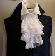 Fancy White JABOT  Embroidered Lace Ascot Cravat