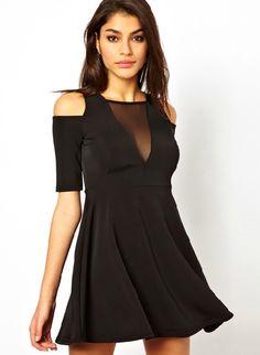 Black Off the Shoulder Contrast Mesh Yoke Dress US$34.26
