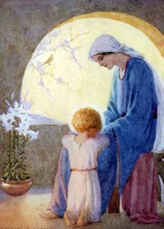The End of the Day by Margaret Tarrant - Mother Mary and Child Jesus Divine Mother, Blessed Mother Mary, Blessed Virgin Mary, Catholic Art, Religious Art, Immaculée Conception, Holy Art, Images Of Mary, Queen Of Heaven