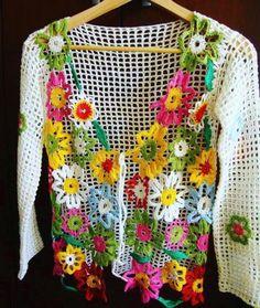 Fabulous Crochet a Little Black Crochet Dress Ideas. Georgeous Crochet a Little Black Crochet Dress Ideas. Crochet Bolero, Gilet Crochet, Crochet Jacket, Freeform Crochet, Crochet Cardigan, Crochet Granny, Irish Crochet, Knit Crochet, Crochet Clothes
