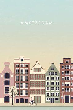 Amsterdam Travel Poster by Katinka Reinke