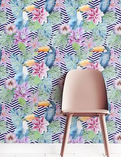 Colorful Removable Wallpaper, Self-adhesive Floral Wallpaper, Tropical Wall Décor, Jungle Wallcovering - JW052 by Jumanjii on Etsy https://www.etsy.com/listing/280906310/colorful-removable-wallpaper-self