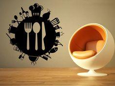 Wall Room Decor Art Vinyl Sticker Mural Restaurant Food Sign Logo Globe World Poster AS1199