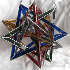 Five Tetrahedra Glass Ceiling Lamp by GavilanTradingPost on Etsy, $1150.00