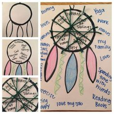 Therapeutic dream catchers! Steps: 1) draw/pattern of dream catcher 2) decorate dream catcher 3) have the child write out negative emotions, triggers, or experiences. 4) trap the negative thoughts/triggers/emotions 5)have the child circle the dream catcher with strengths, positive traits, activities, and other things/people the client loves.