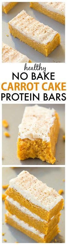 No Bake Carrot Cake Protein Bars (Paleo, Vegan, Gluten Free) Paleo Protein Bars, Protein Snacks, High Protein, Healthy Bars, Casein Protein, Protein Pancakes, Healthy Sweets, Healthy Baking, Healthy Lunches